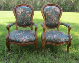 His and Hers Chairs, Wood Chair, Antique Furniture, Ornate Chairs, Antique Chairs, Victorian Chairs, Paisley chairs, Living Room Chairs