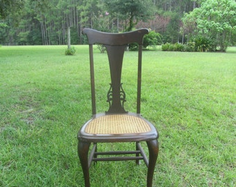 Vintage Shabby Chic Chair, Furniture, Wood Chair, Cane Seat, Dinning Chair, Rustic Chair, Antique  Chair