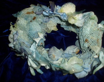 Antique 40s 50s Blue Floral Flower Fascinator Hat