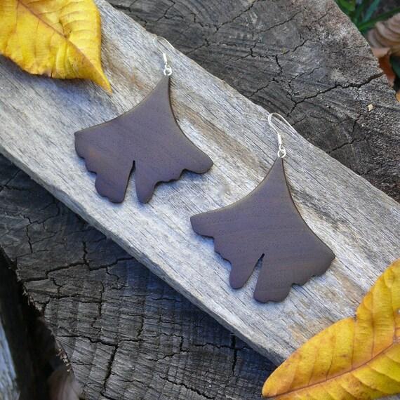 Ginkgo Leaf earrings, Natural Wood Earrings, Leaf earrings, Boho Earthy earrings, Sterling Silver Leaf earrings, Wooden accessories, Nature