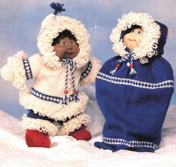 Knitting Patterns For Cabbage Patch Dolls : Knitting 16 DOLL CLOTHES Pattern Snug as a Bug by KenyonBooks