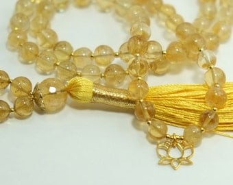 Citrine Mala, made to order, 6mm-8mm, 108 beads