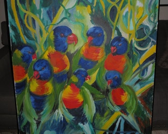 Signed Canadian Oil Pinting , Quebec Artist Josette Bohec , 36 by 48 inches , Australian Rainbow Lorikeets