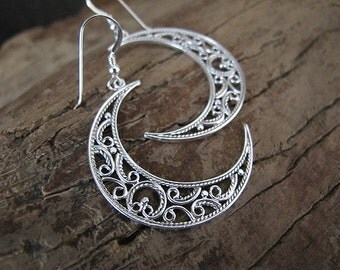 Silver earrings,Filigree Silver Earrings , Filigree earrings , Israel jewelry,Yemenite jewelry,Moon earrings