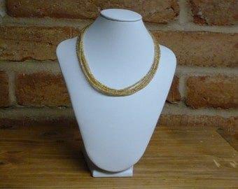 AB Gold Multistrand Seed Bead Necklace