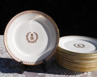 Set of 10 Sevres Dorea Napoleon Dessert Plates Salad Plates