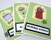 Birthday Card - Happy Birthday - Birthday Wishes - Watering Cans  - Springtime - Bright Green - Floral Card - Polka-Dots - Cheery Birthday