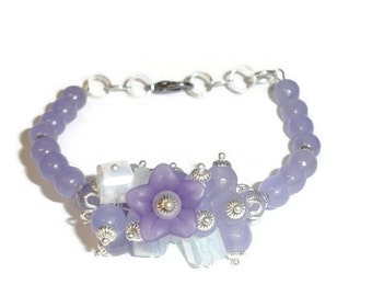 40% OFF SALE Purple Jade Floral Explosion Bracelet