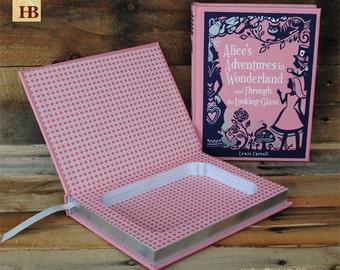 Hollow Book Safe - Alice's Adventures in Wonderland - Pink Leather Bound