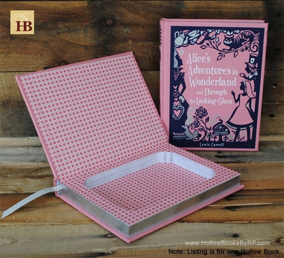 Hollow Book Safe - Alice's Adventures in Wonderland - Pink Leather Bound