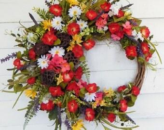 "Festive Silk Front Door Wreath,""Garden Party"" Red Wreath,Country Cottage, Flower Wreath, Daisy Wreath, Year Round Door Wreath, Extra Full"