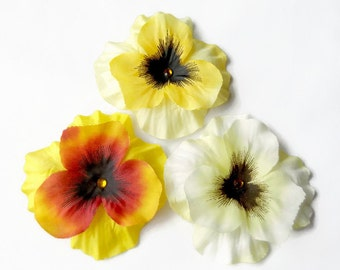 Flower Clip - Yellow Flower Clip - Hair Flower - Hair Accessory - Pansy Hair Flower - Girls Hair Clip - Yellow Pansy - Yellow Hair Clip