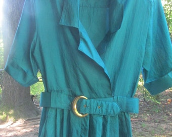 80s polyester teal jumpsuit size 8