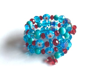 Turquoise and red murano glass and crystal memory wire bracelet