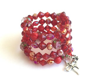 Red memory wire bracelet, red crystal memory wire bracelet with charms