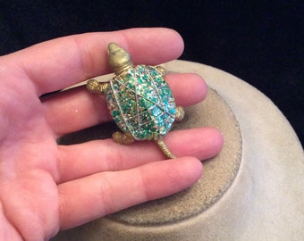 Vintage Colorful Sparkly Turtle Pin