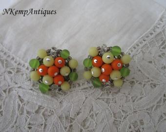 Vintage earrings 1950's clip ons