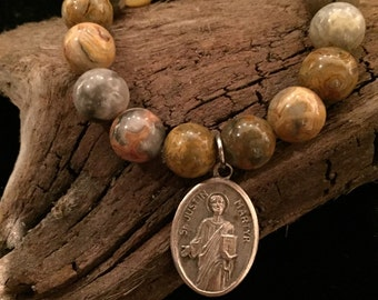 Brown Agate Beaded Bracelet with Vintage Religious Medal