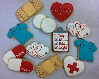 Nurse Theme Cookie Favors for Graduations, RN Cookies, Medical Cookies, Nurse Retirement Cookies, Medical Thank You Gift, Congrats Gift