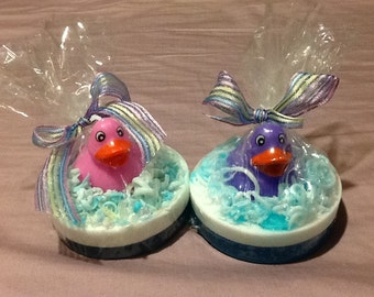 Homemade all Natural Soap, Duck on pond (pair)