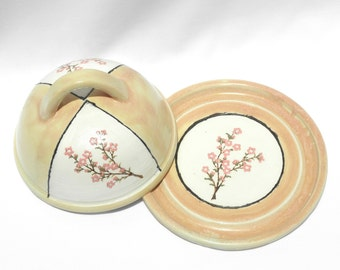 Covered Round Butter/Cheese Dish Cherry Blossom Pattern