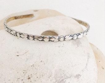 Sterling silver bracelet - cuff bangle - flower hand patterned - hallmarked