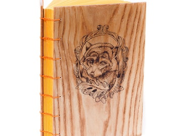 "Wooden Handcrafted Coptic Journal ""The raccoon in the frame"""