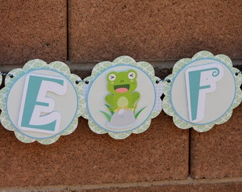 DELUXE Adorable Little Froggy Baby Shower Party Banner - Glitter - Frogs - Decorations - Boys - Decor - Celebration - Photo Shoot