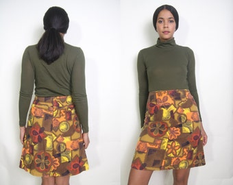 Vintage 60s 70s Cotton Hawaiian Floral Abstract Print Brown Orange Yellow High Waist A Line Skirt