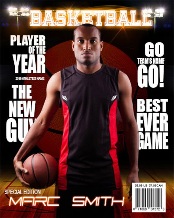 Basketball magazine cover template from arc4studio on etsy for Custom magazine cover templates