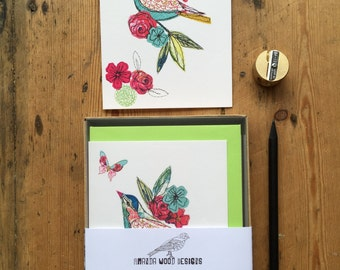Bird notecards-set of 6- boxed