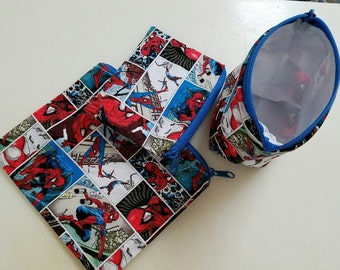 Reusable Sandwich Bag Set,Spiderman Bags, Gadget Bags, Small Toy Bags, Snack Bags, Lunch Baggies,Charger Bags,Nylon Lining, Zipper Closure.