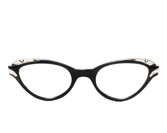 Liberty Optical Vintage Black Shell Jeweled Cat Eye 1950's - 1960's Eyeglasses