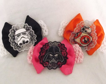 Nerdy Infant/ Toddler Star Wars Bows and Lace Headbands