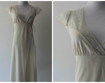 Cream Juniors Nightgown /  Ivory Off White Beige / Long Slip / Wrap Front