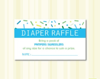 Baby Shower Sprinkle PAMPERS Diaper Raffle Instant Download Printable