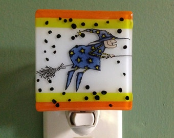 Halloween, Fused Glass, Got Broom will Travel, Witch, Night Light