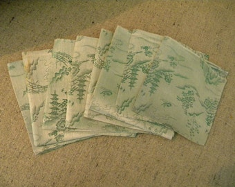 Vintage Silk Asian Brocade Napkins in Jade Green