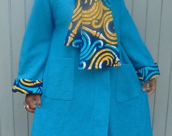 Turquoise Wool Handmade Coat