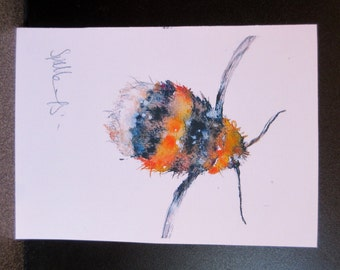 Bumblebee....Un mounted Art print from one of my original paintings. Will fit a mount 7 x 5 inches