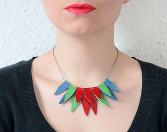 Chunky bib necklace, Leather necklace,  parrot necklace, leather statement necklace, Statement triangle necklace, colourful bib necklace