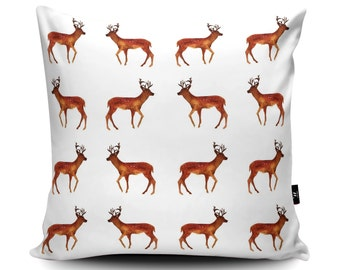 Fawn Cushion, Fawn Pillow, Deer Cushion, Fawn Home Decor, Fawn Bedding, Deer Pillow, Fawn Watercolour Vegan Suede by Rhiannon Findlay