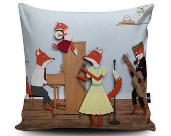 Foxes Cushion, Fantastic Mr Fox Pillow, Musical Cushion Cover, Nursery Decor, Fox Pillow, Fox Family Cushion, 18/24 inch, 45/60cm Faux Suede