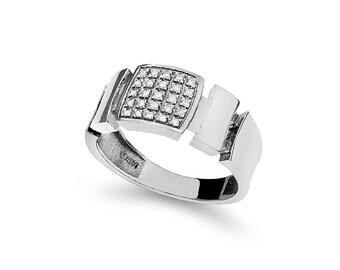 14k solid white gold diamond men's ring. fancy ring.