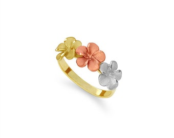 14k solid gold tricolor plumeria ring, floral jewelry.