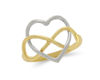 14k solid gold two tone heart ring with infinity design. love jewelry, infinity.