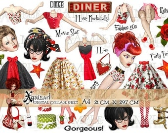 Paper Dolls - Digital Collage Sheets - Rockabilly Retro