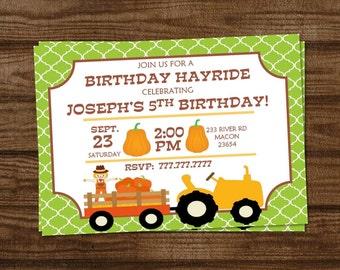 DIY Printable Hay Ride | Pumpkin Patch Invitation, Fall Birthday Invitation | Harvest Party | Birthday | Class Party | Farm Party