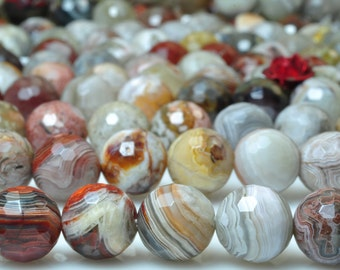 47 pcs of Natural Rainbow Mexican Crazy Lace Agate faceted round beads in 8mm