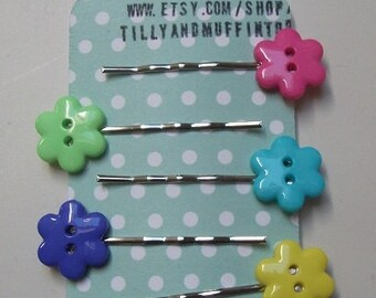 Handmade Flower Button Bobby Pins, Hair Grips,Hair Slides,Hair Pins.Set Of 5.Bright Colors.Pastel Favours, Wedding, Stocking Stuffer/Filler